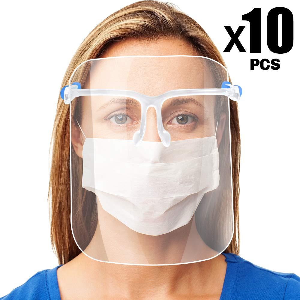 Pantalla de Proteccion Facial, LETOUR 10 Pcs de Cara Completa de Plástico Reutilizable Gafas protectoras Visera de protección de seguridad Anti escupir para hombres y mujeres