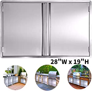 CIOGO BBQ Access Door 28x19 Inch Double Wall Outdoor Kitchen Door, 304 All Brushed Stainless Steel Double BBQ Door for BBQ Island, Outside Cabinet, Barbecue Grill ,Outdoor Kitchen