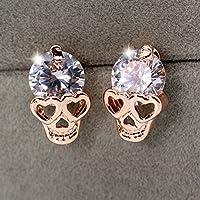 ERAWAN Fashion Women Rose Gold Crystal Diamond Skull Pierced Ear Stud Earrings Jewelry EW sakcharn
