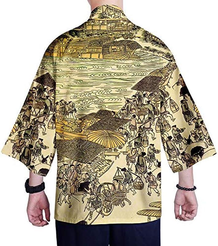 Japanischer Kimono-Strickjacke Hemd XXS-4XL Męskie Kimono Cardigan Top Yukata Kleidung Samurai-Kostüm (Farbe : Style 10, Size : XXL): Küche & Haushalt