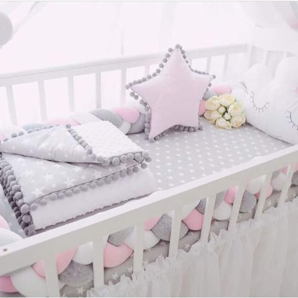 Queta Bed Snake Cot Bumper Weaving Edge Protection Head Protector Decoration for Crib Cot 200 cm Baby Bumper Grey