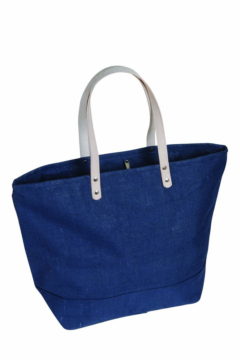 バーゲンで Large x Jute Tote W Bag withレザーハンドルサイズ19