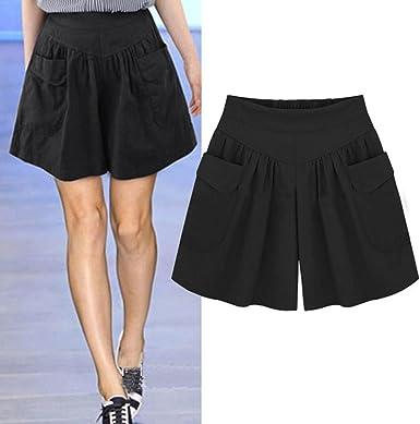 Light Shiny Loose Shorts Women Casual Wide Leg Short Elastic Waist All-Match Shorts Female