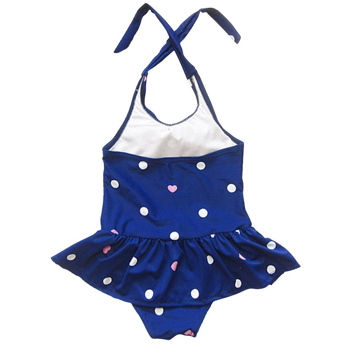 Baby Girls One-piece Swimsuits Dot Printed Beach Wear with Headband