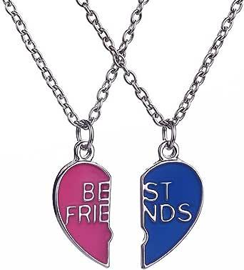 Elegant Rose 2 Piezas Best Friends Forever BFF Plata corazón Clave Colgante Collar Conjunto Amistad Accesorios