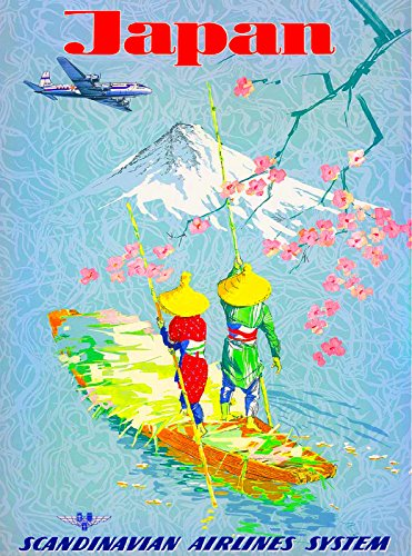 MAGNET Japan Japanese by Airplane Mt. Fuji Asia Vintage Travel Advertisement Magnet