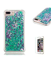 Funyye Liquid Quicksand Case for iPhone 7 Plus/8 Plus,Sparkly Flowing Glitter Green Love Hearts TPU Case for iPhone 7 Plus/8 Plus,Slim Soft Rubber Flexible Clear Protective Silicone Case for iPhone 7 Plus/8 Plus 5.5 inch + 1 x Free Screen Protector