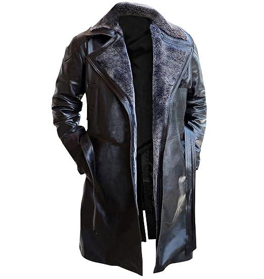 7b11b1b59 Red Smoke Blade Runner 2049 Ryan Gosling (Officer K) Shearling Black Trench  Leather Coat Costume
