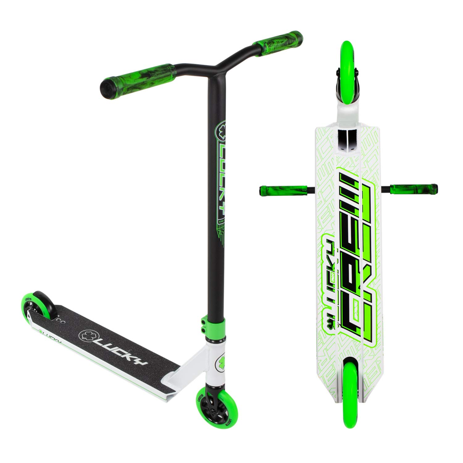 Lucky Crew Pro Stunt Scooter, White/Green