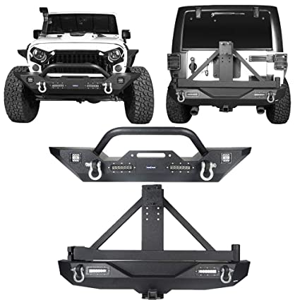 cb5b12e4724 Amazon.com  Hooke Road Rock Crawler Rear Bumper   Spare Tire Carrier +  Different Trail Front Bumper Kit for 2007-2018 Jeep Wrangler JK   Unlimited   ...