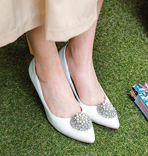 MissSaSa Femmes Escarpins Décoration Perle Talons Aiguille Chaussures Fermeture à Enfiler Blanc BhNJkKbeS