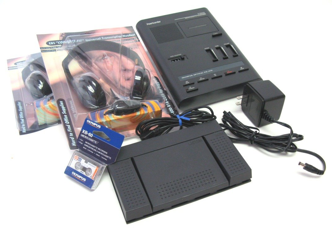New Comfort-Fit Headset with this Refurbished Olympus T-1000 Transcriber with One Full Year Guarantee **TWO NEW HEADSETS**