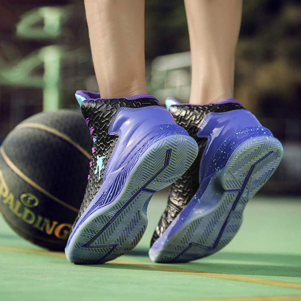 HhGold Männer Basketball Schuhe Frauen Sport Trainer Stiefeletten Dämpfung Anti-Rutsch-Korb Anti-Rutsch-Korb Dämpfung Unisex Turnschuhe (Farbe   Schwarz Blau, Größe   6.5=40 EU) 39a38d