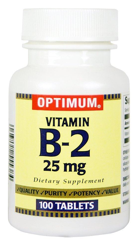 Optimum Vitamin B-2 Tablets, 25 Mg, 100 Count Pack of 5