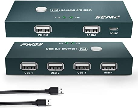 GHT USB Switch 2PC 4 Puertos, Conmutador USB 2.0, 2 In 4 out ...