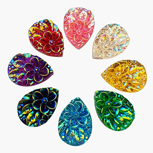 Standout Drop Shape AB Sew on Rhinestones Crafts Design Sewing DIY For Costume Wedding Dress Decorations 13x18mm 60pcs (Mixed Color)