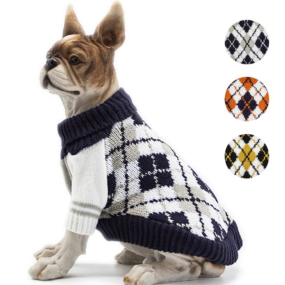 BOBIBI Dog Sweater of The Diamond Plaid Pet Cat Winter Knitwear Warm Clothes,Navy,Medium