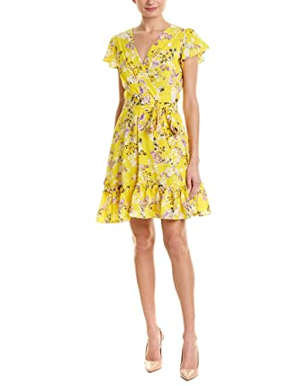 9ad0342a8a7da6 Julia Jordan Women s Short Sleeve Wrap Front Ruffle Hem Floral Dress at  Amazon Women s Clothing store