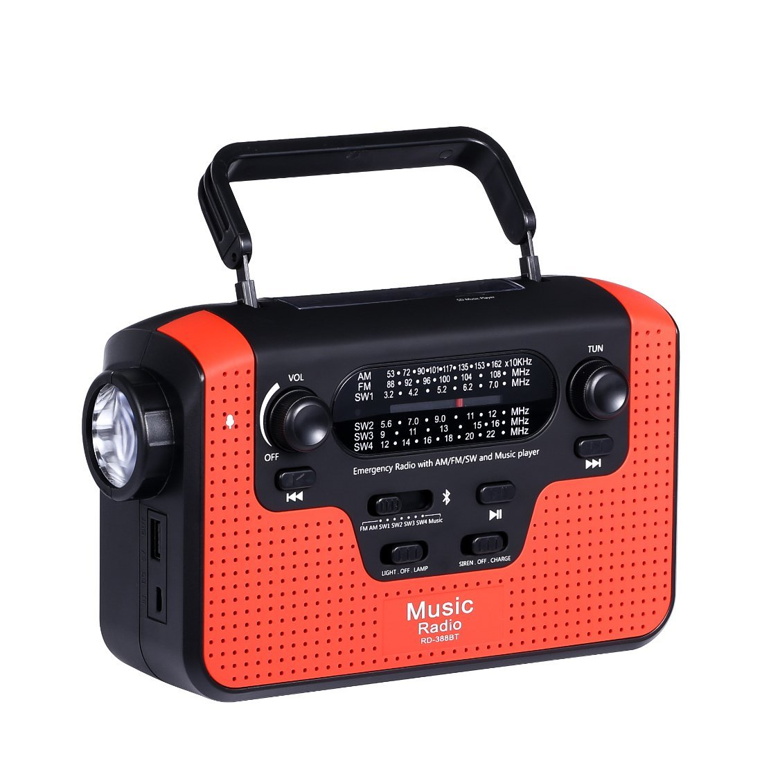 Solar Hand Crank Emergency AM/FM/SW/WB Radio, Bluetooth TF Card Speakers with Lights, LED Flashlight and Reading Camping Lamp, Battery Radio Portable and 2300mAh Power Bank Cell Phone Charger (red)