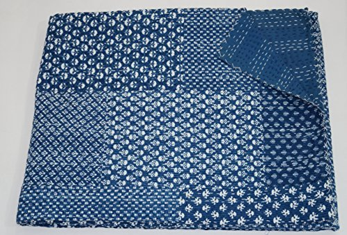 The Ethnic Crafts Indian Indigo Color Queen Size Kantha Quilt, Hand Block Print Kantha Bedspread, Patchwork Handmade Blue Kantha Work Blanket