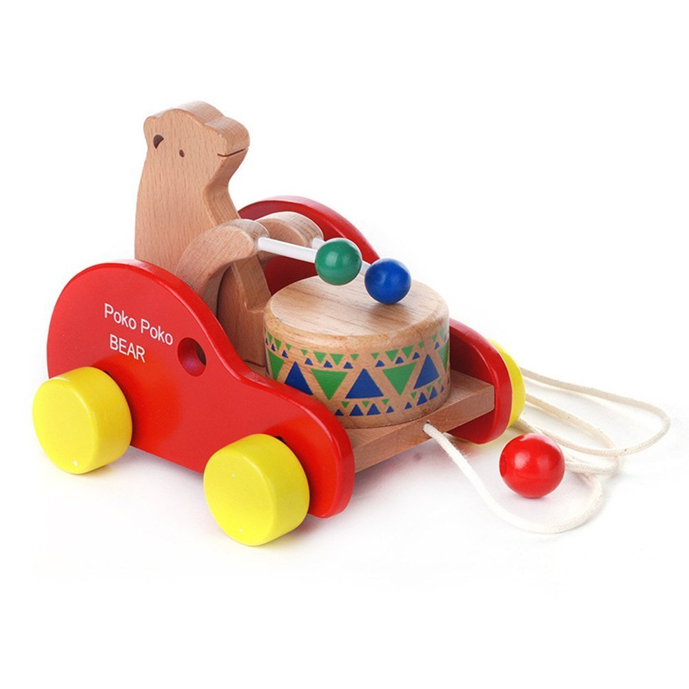 Wooden toys-Bear Knock the Drum Drag Car,Creative Educational Push and Pull Toy for Baby Toddlers Kids