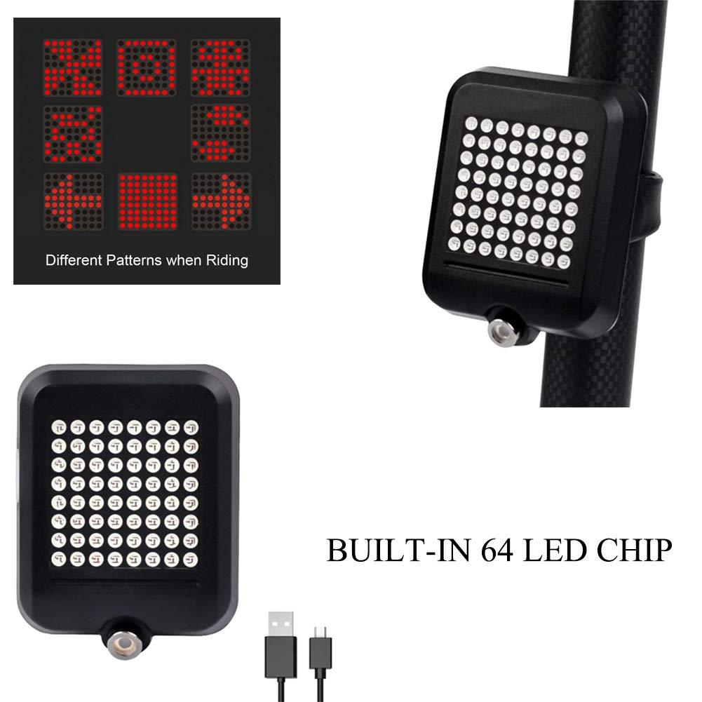 Luz Intermitente para Bicicleta indicador de direcci/ón autom/ática Carga USB Distancia Segura luz Trasera para Bicicleta de monta/ña y Ciclismo Leezo Luces de carriles de Advertencia