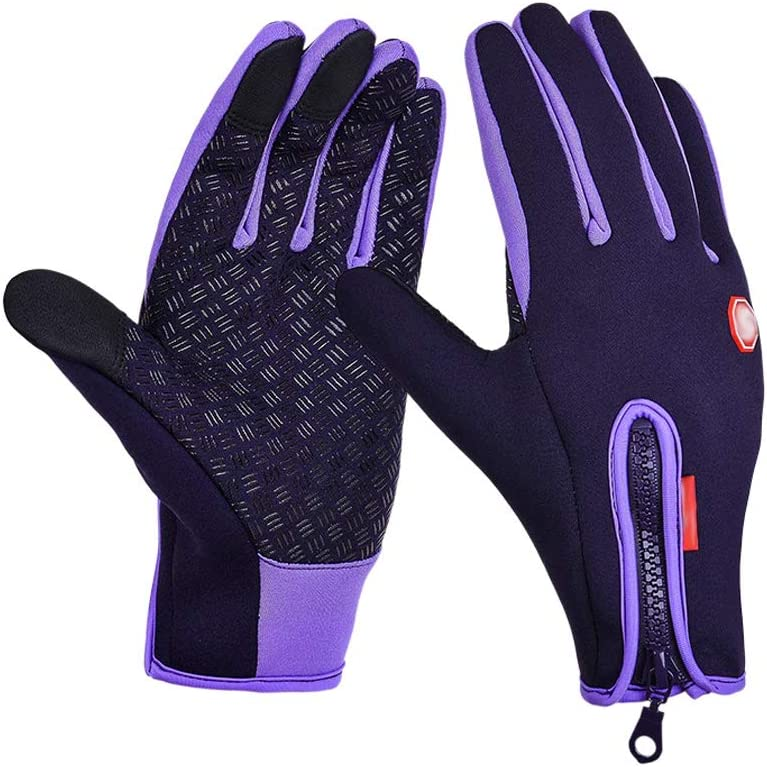 Thermal Winter Gloves Windproof for Men Women Outdoor Running Cycling Hiking Driving Climbing Biking Touch Screen Gloves Black