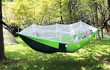 FixtureDisplays Portable Double Hammock Jungle Camping with Mosquito Net Outdoor Hanging Sleeping Bed 16117-2PK