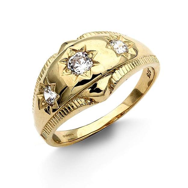 f83672b510674 Jewelco London Men's Solid 9ct Yellow Gold White Round Brilliant ...