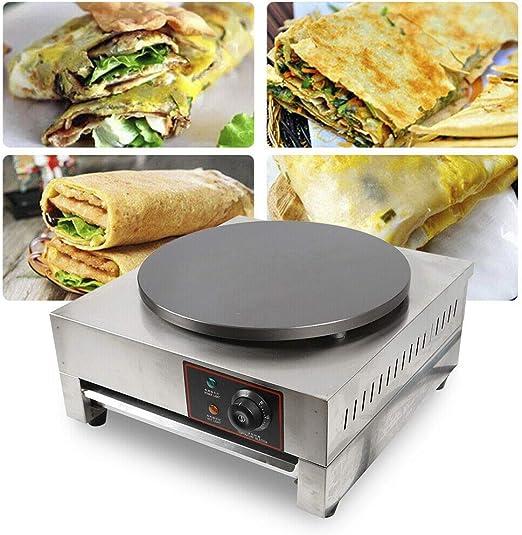 Opinión sobre Máquina para hacer tortitas, 2,8 kW, de acero inoxidable, 40 cm de diámetro, temperatura regulable 50-300 °C, placa antiadherente