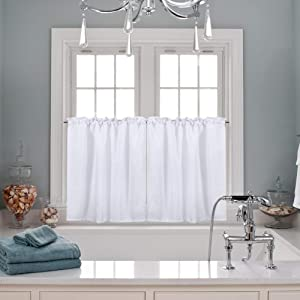 """30"""" x 24"""" Waffle Woven Textured Short Curtains Tiers for Kitchen Bedroom Bathroom Nursing Room Café Bookroom, Half Window Treatment Curtains, Water-Resistance, Rop Pocket Design, Set of 2, White"""