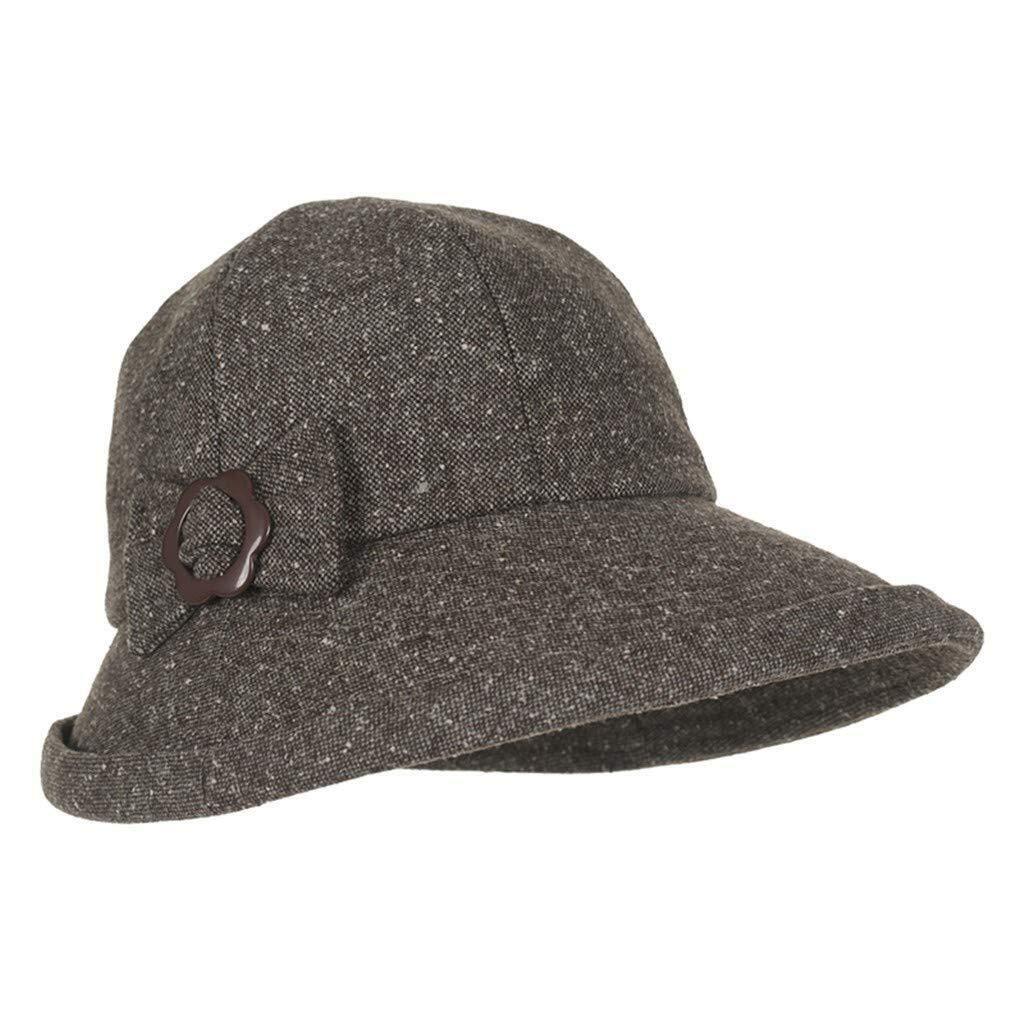 Dingkun Bucket Hat, Simple Wild Wide Brim Crimping Design Ladies Sun Hat (Color : Coffee Color, Size : S)