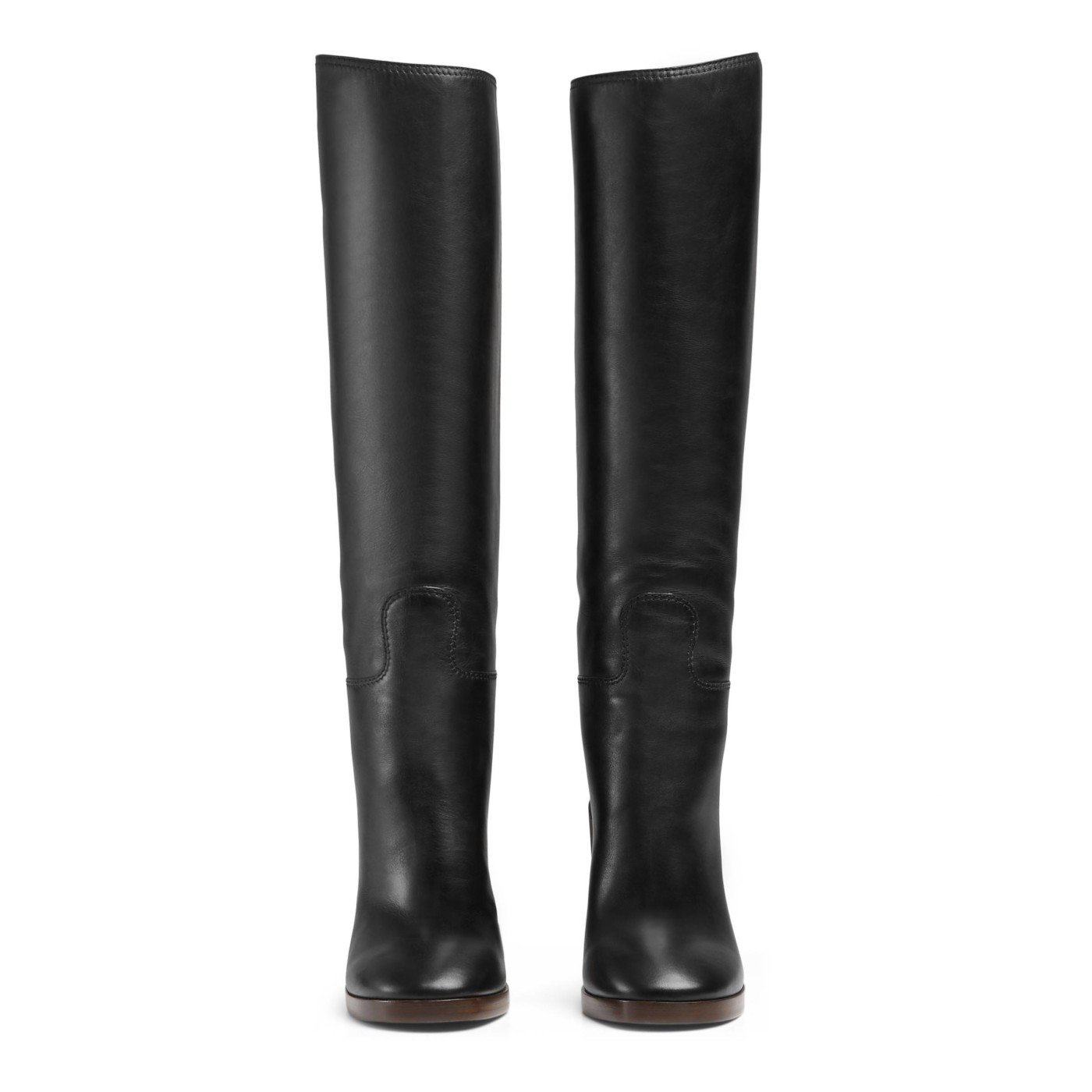 dc7b43d2664cd Gucci Women's Black Leather Gold Heel Knee High Boots Shoes | ShoesCrave