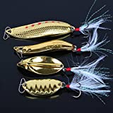 striped bass fishing lures - Fishing Lures Gold Metal Jig Lures Crankbait Casting Sinker Swimbaits Fishing Spoons with Treble Hooks and Feathers Bait for Striped Bass Lures Trout Freshwater Saltwater Fishing (Pack of 4)