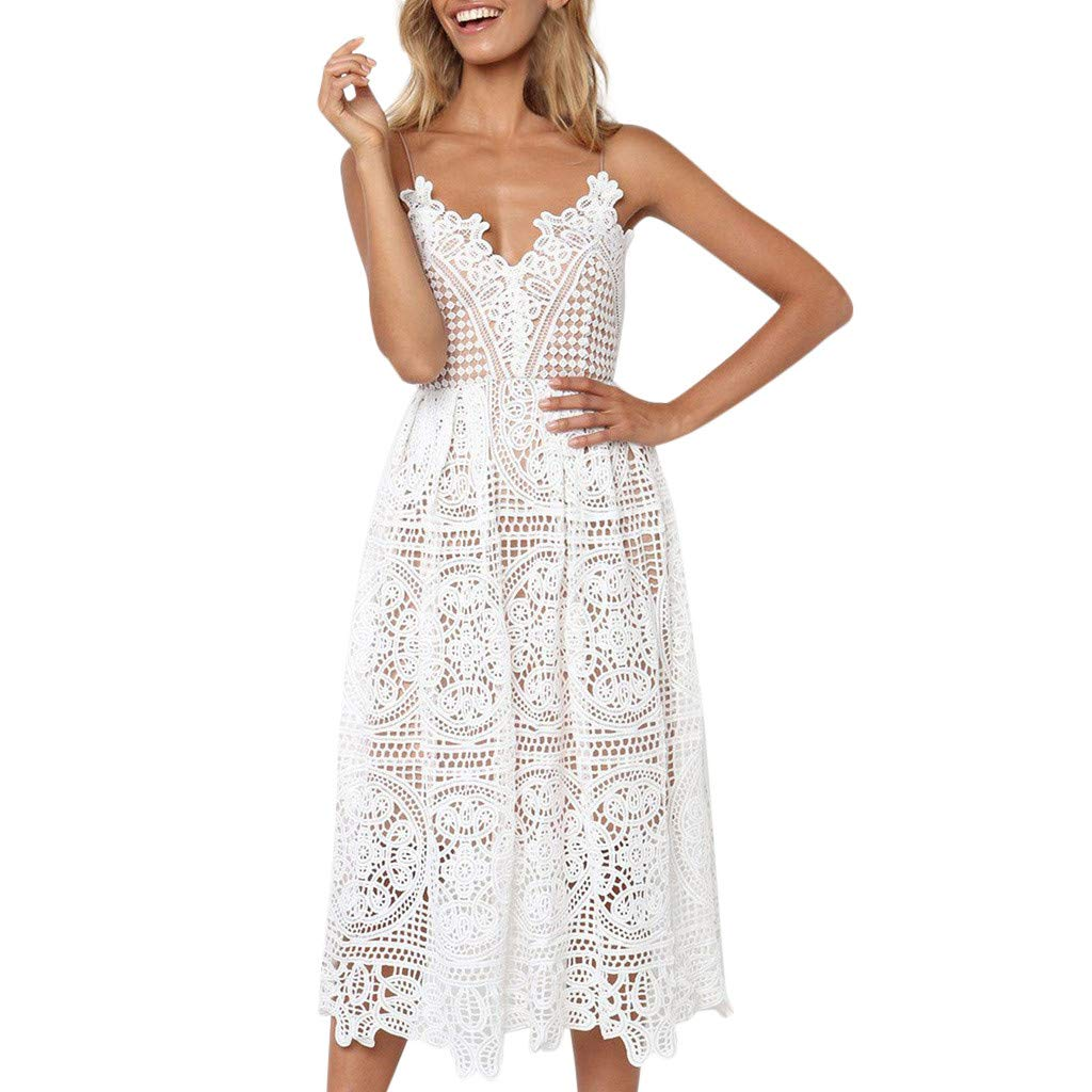 Women Fashion Casual Solid Mini Halter Dress Hollow Lace Strap Dress Sexy Beach Party Summer Dress