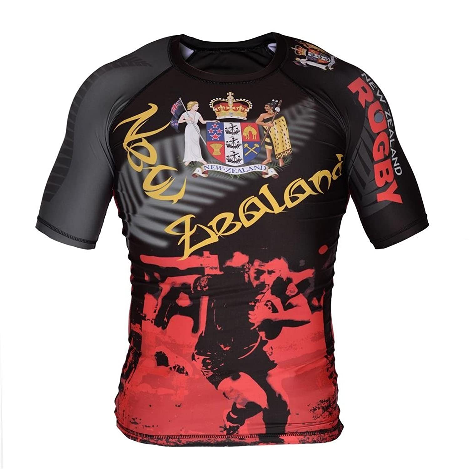 Image of Street Fighter Short Sleeve Rash Guard NEW ZEALAND RUGBY