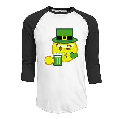 St Patricks Day Emoji - Camiseta de Manga 3/4 para Hombre ...