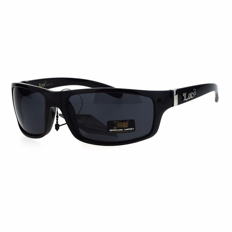 846f56a0f39 Amazon.com  All Black Locs Rectangular Cholo Gangster Mad Dog Plastic  Sunglasses  Clothing