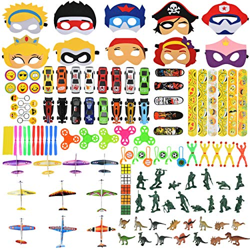 Party Favors for kids - 120pcs Bulk Assortment Toys, Treasure Chest Box Prizes, Classroom Rewards, Goodie Bags Stuffers, Carnival Games Supplies, Pinata Fillers, and Birthday Party favor masks. ()