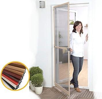 Mosquitera abatible con bisagras para puerta Smart de madera, aluminio, chapada en madera, 100 x 215 cm: Amazon.es: Bricolaje y herramientas