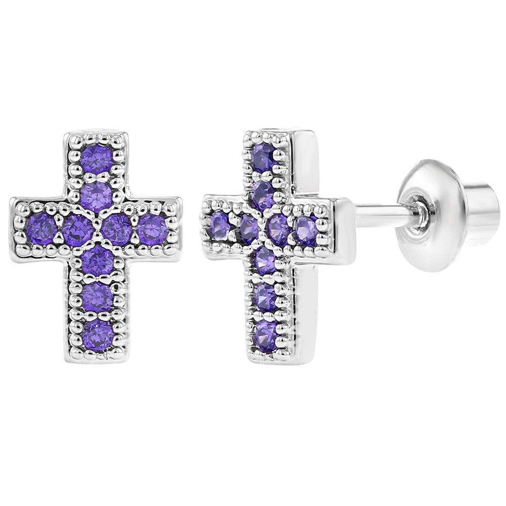 Rhodium Plated Small Purple CZ Safe Screw Back Baby Girl Cross Earrings In Season Jewelry 03-0051