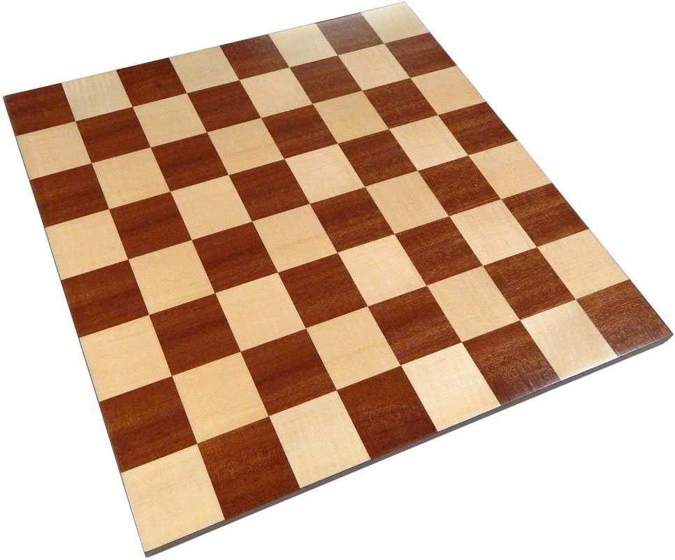 Zelus Borderless Tournament Chess Board with Inlaid Mahogany Wood, Large 18 x 18 Inch, Board Only