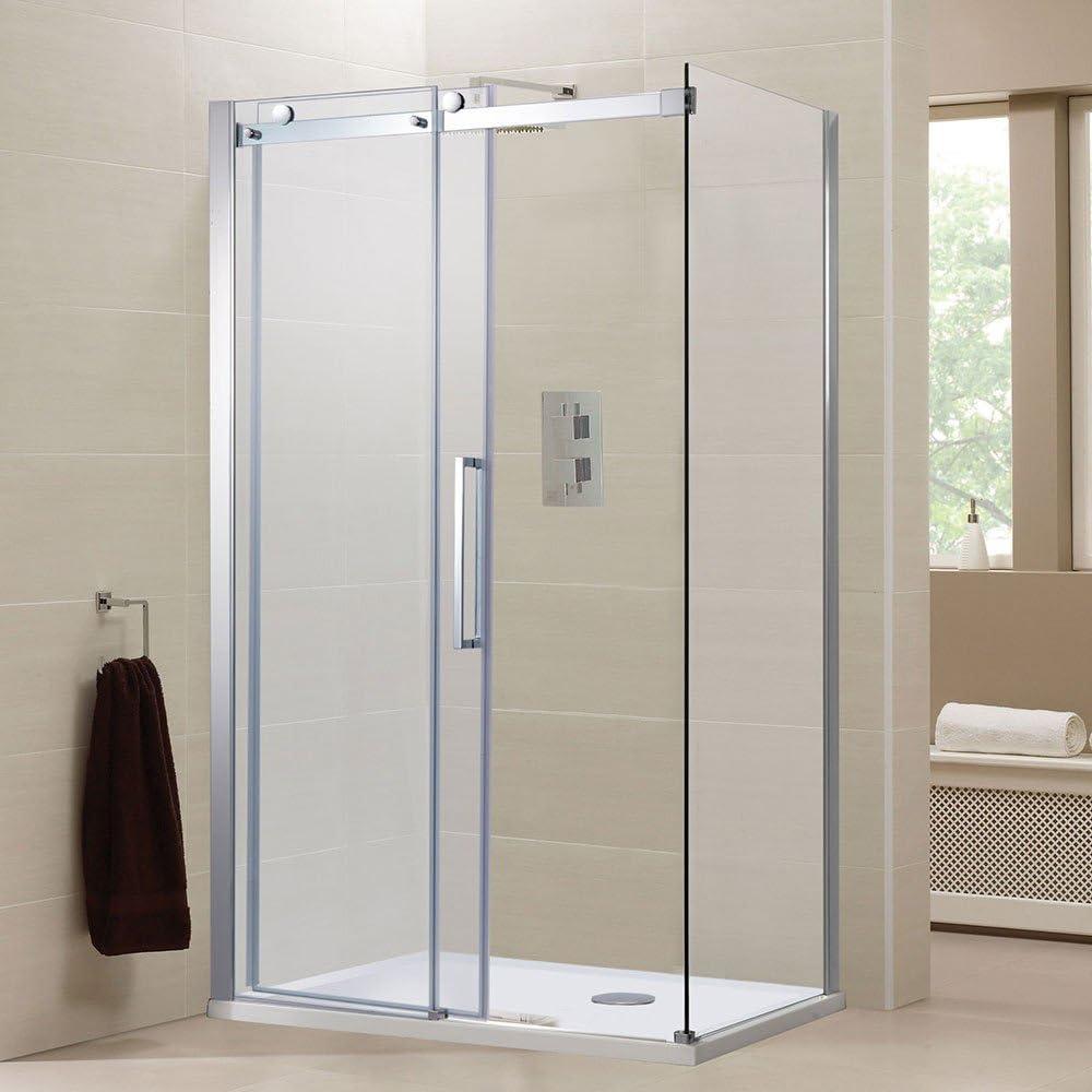 Sin Marco Puerta Corredera 1000 x 800 de ducha con Panel lateral + ...