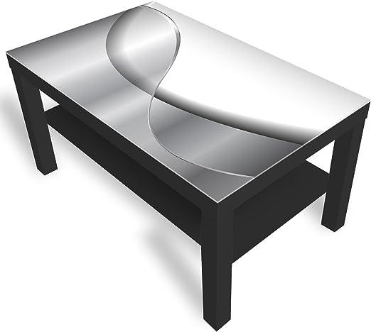 IKEA Lack Beistelltisch Couchtisch 'Abstraktion' Sofatisch mit Motiv Glasplatte Kaffee Tisch von DEKOGLAS, 90x55x45 cm Schwarz