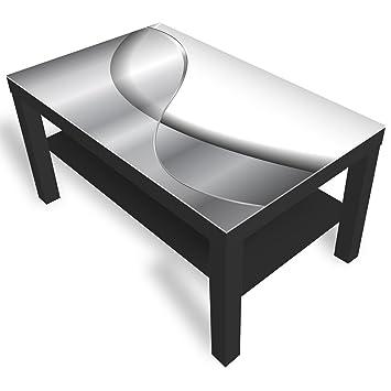 DekoGlas IKEA Lack Beistelltisch Couchtisch \'Abstraktion\' Sofatisch mit  Motiv Glasplatte Kaffee-Tisch, 90x55x45 cm Schwarz