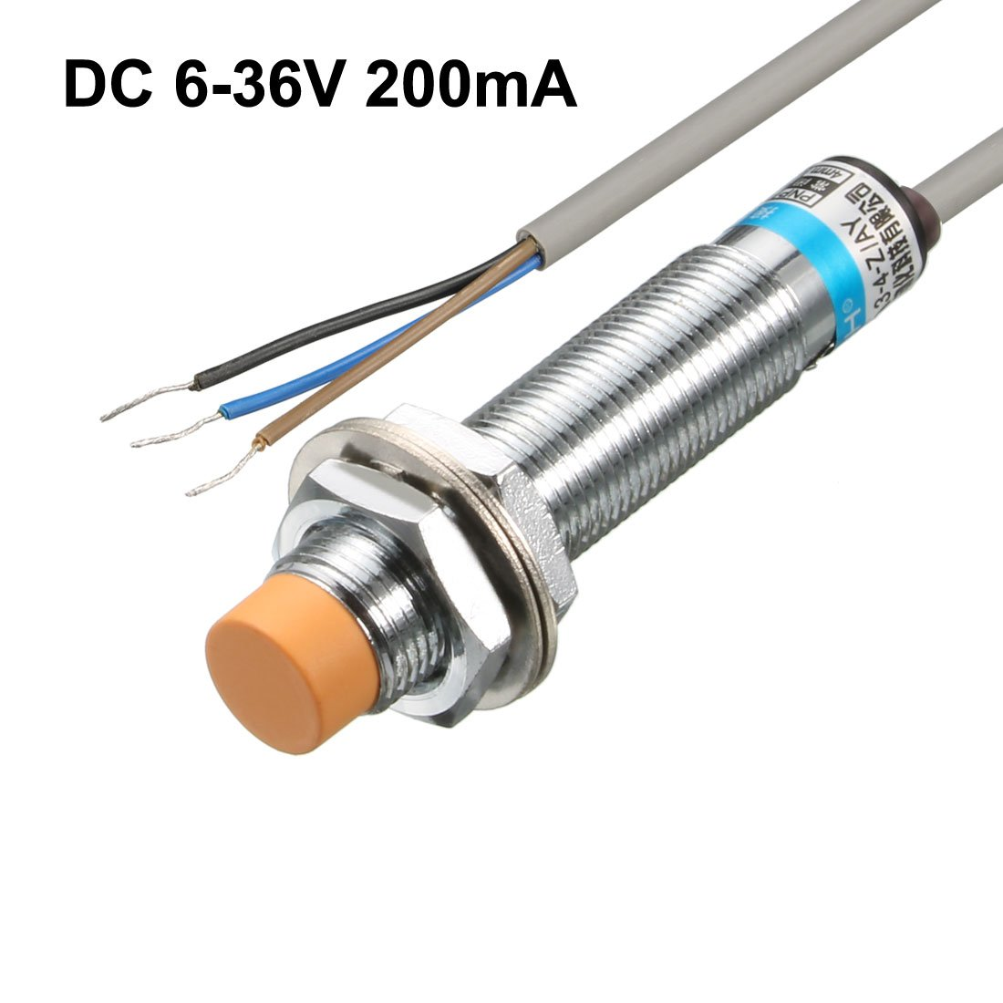 uxcell 4mm Inductive Proximity Sensor Switch Detector NPN NC DC 6-36V 200mA 3-Wire Cylinder Type LJ12A3-4-Z//AX