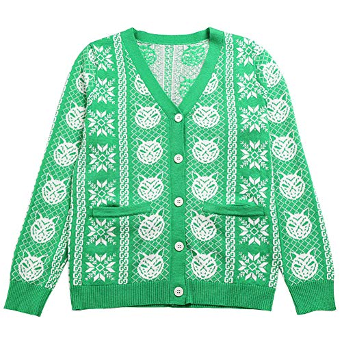 (QINJLI Knit Cardigan, Spring and Autumn V-Neck Long Sleeve Animal Jacquard Double Pocket Women's Jacket )