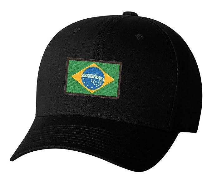 2de4af014d7 Brazilian Brazil Country Pride Flag Embroidered Hat 4 Colors - Black - OSFA  Adjustable