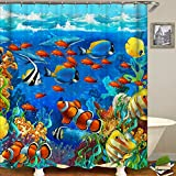 "Ocean Animal Decor Shower Curtain Tropical Fish nderwater Coral Reef Undersea World Waterproof Fabric Bathroom Shower Curtain with Hooks (2, 65"" x 70"")"