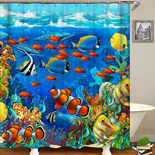 Ocean Animal Decor Shower Curtain Tropical Fish nderwater Coral Reef Undersea World Waterproof Fabric Bathroom Shower Curtain with Hooks (2, 65 x 70)